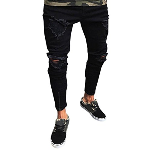 LuckyGirls Pantalones Vaqueros Hombres Rotos Pitillo Originales Slim Fit Skinny Pantalones Casuales Elasticos Agujero Pantalón Personalidad Jeans con Cremallera (S, Negro)