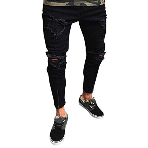LuckyGirls Pantalones Vaqueros Hombres Rotos Pitillo Originales Slim Fit Skinny Pantalones Casuales Elasticos Agujero Pantalón Personalidad Jeans con Cremallera