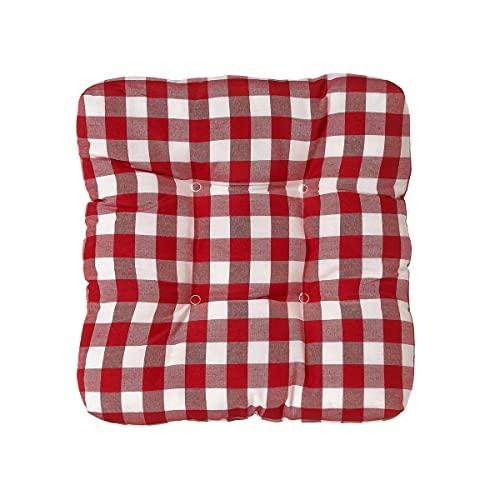 Cojín de Silla Acolchado Rojo y Blanco de poliéster de 45x45 cm - LOLAhome
