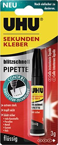 1 x UHU© SEKUNDENKLEBER blitzschnell PIPETTE, Pipette mit 3 g, Infoka