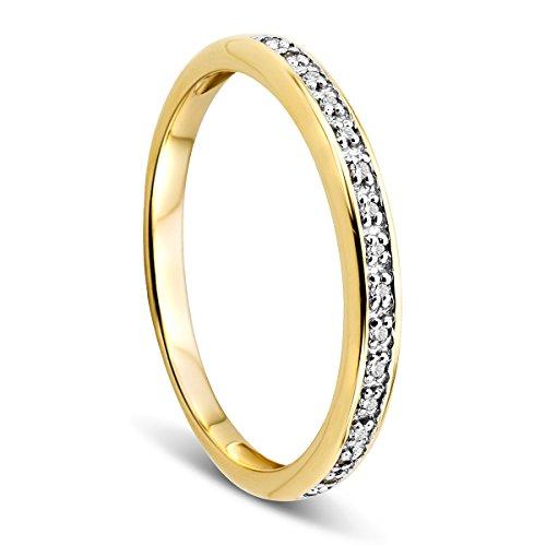 Orovi Damen-Ring Memoire Hochzeitsring Gelbgold 9 Karat (375) Brillanten 0.05 ct Verlobungsring Diamantring