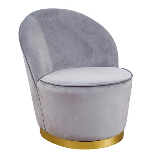 TOV Furniture The Julia Collection Midcentury Modern Velvet Upholstered Barrel Chair with Gold Base, Small, Grey