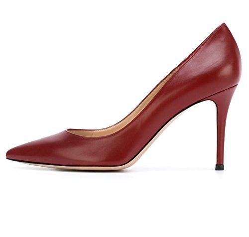 Soireelady Damen Moderne High Heels,Stiletto Schuhe,Burgund Pumps Größe 42