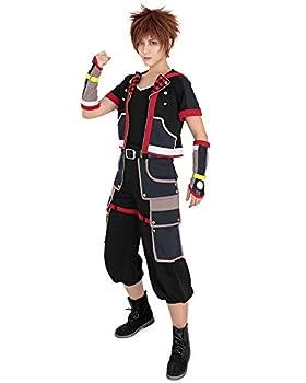 miccostumes Men s Sora Cosplay Costume Halloween Outfit Jacket Pants Belt  M  Black