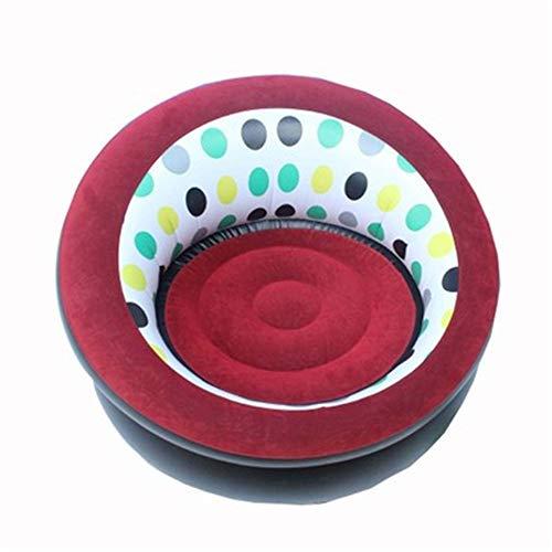 Ufblasbares Sofa Outdoor Sofa Beflockung aufblasbare Sofa bewegliche aufblasbare Hocker Shade Strand Aufblasbares Sofa für zu Hause (Farbe : Red, Size : 82x82x50CM)