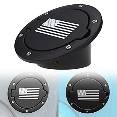 DIYTUNINGS Black Gas Fuel Tank Cap Cover for Jeep Wrangler JK JKU Unlimited Rubicon Sahara X Off Road Sport Exterior Accessories Parts 2007-2017