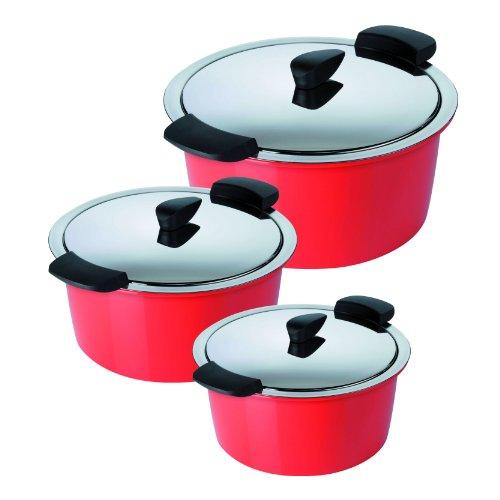 KUHN RIKON 30820 - Batería de Cocina de bajo Consumo (2l, 18cm, 3l + 5l, 22cm), Color Rojo