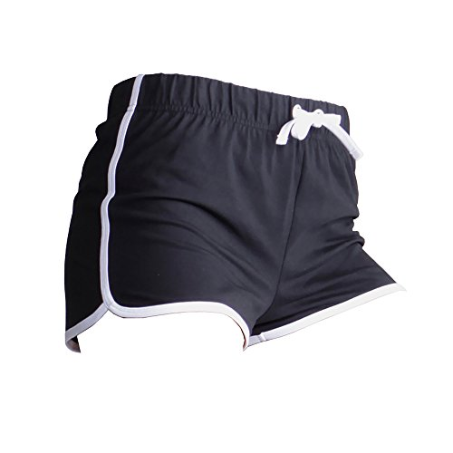 Skinni Fit Damen Sport-Shorts / Retro-Shorts (Medium) (Schwarz/Weiß)