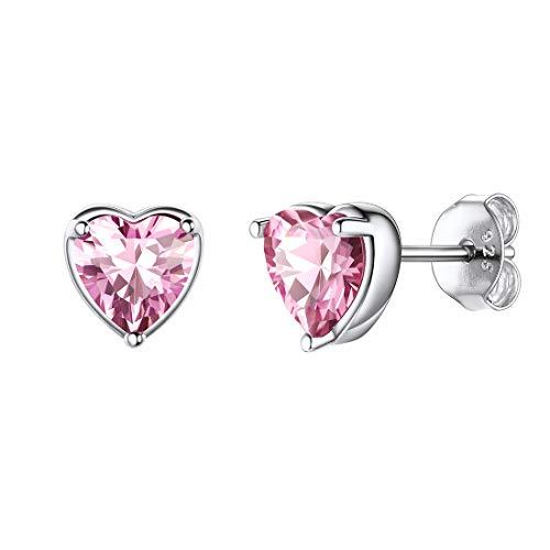 925 Sterling Silver Heart Birthstone Earrings For Women October Pink Gemstone Jewelry Earring Studs