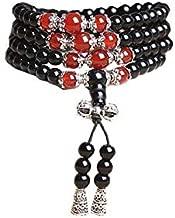Natural black Obsidian Turquoise Agate Bracelet 108 beads chain bracelet Black agate multi-layer crystal bracelet for men and women