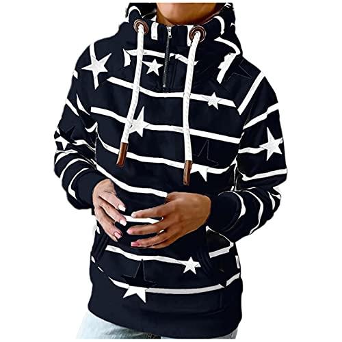 Women Hoodie Sweater Geometric Print Long Sleeve Cute Western T Shirt Drawstring Pullover Fall Sweatshirts with Pockets