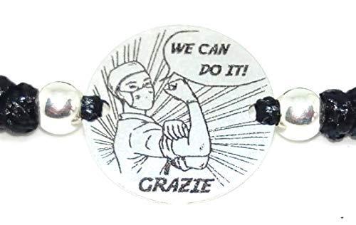 Pulsera Grazie, Sanitario,enfermero Italiano Medalla 18 mm Plata de Ley montada en Macrame Encerado y Bolas de Plata, Unisex y Ajustable. (Morado)
