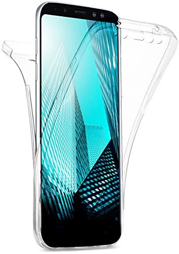 moex Double Hülle für Samsung Galaxy A8 (2018) Hülle Silikon Transparent, 360 Grad Full Body R&um-Schutz, Komplett Schutzhülle beidseitig, Handyhülle vorne & hinten - Klar