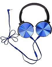 ソニーのヘッドホン、ソニーのDJヘッドホンの表面は、ソニーMDRXB450AP用の軽量調整可能なヘッドバンドを備えた金属素材のヘッドホンを使用しています(青)