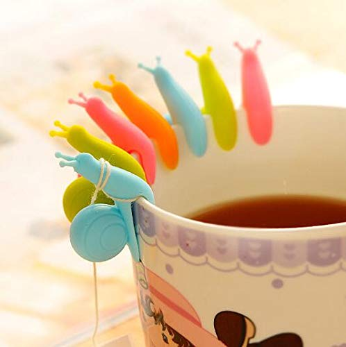 Cute Colorful Snail Shaped Tea Bag Holder,Silicone,Pack of 10