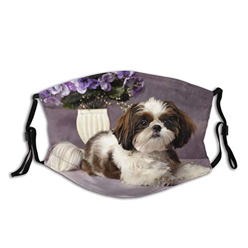 Animal Funny Shih Tzu Dog Face Anti-Dust Outdoor Adjustable Breathing Mouth Cover Balaclava Reusable with Filters with 2 Filters
