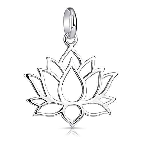 Materia, collana in argento 925 con fiore di loto, gioiello con collana per donna o ragazza, con confezione regalo e Argento, colore: Senza catena., cod. KA-69