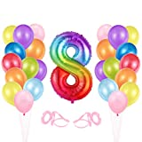 Globo cumpleaños 8 año, Globo 8 Año, Decoración de cumpleaños 8 er Colores, Globos Numeros 8 para Fiestas, Number Balloons, Set Globos Decoracion Bautizo Comunión Fiesta Cumpleaños Party