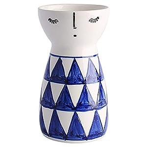 Silk Flower Arrangements Senliart White Ceramic Vase, Small Flower Vases for Home Décor, 5.9 X 3.2 (Geometric)