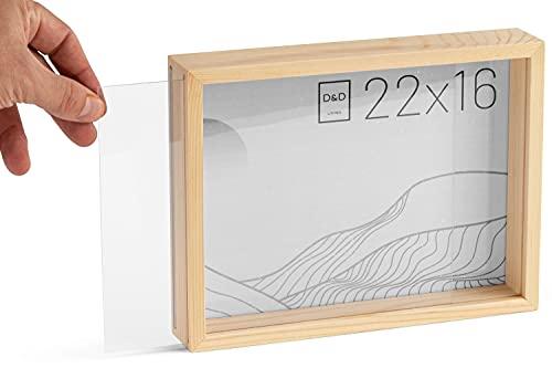 D&D Living Bilderrahmen 3D aus Holz 16x22 cm - Objektrahmen zum Befüllen   Rahmen tief mit Glas
