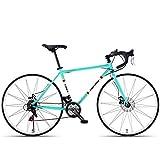 Xiaoyue 21 Speed-Straßen-Fahrrad, High-Carbon Stahlrahmen Männer Rennrad, 700C Räder Stadt-Pendler-Fahrrad mit Doppelscheibenbremse, Schwarz, gebogenen Griff lalay (Color : Blue, Size : Bent Handle)