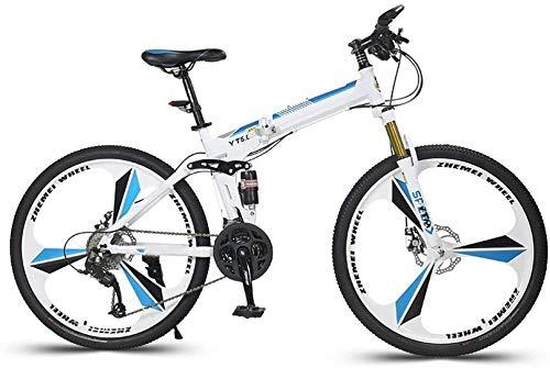 26in Folding Bike bicicletta della montagna 24 Velocità Off Road Racing in bicicletta ad alta acciaio al carbonio Portable Hard Tail Mountain Bike for Uomo Donna leggero pieghevole casuale Damping bic