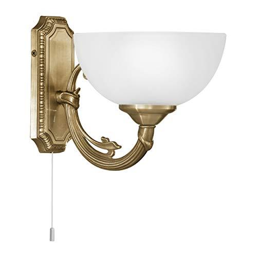 EGLO Lámpara de pared Savoy, 1 luz de pared vintage, rústica, lámpara de pared interior de metal fundido, cristal satinado, lámpara de salón, lámpara de pasillo en bruñido, color blanco, lámpara con interruptor de tracción, casquillo E14
