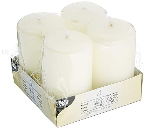 Papstar 15361 4 Pillar Candles Ø 50 x 80 mm Ivory
