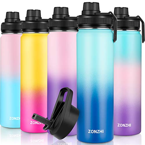 ZONZHI Trinkflasche Edelstahl 650ML-Auslaufsicher Sport Thermosflasche BPA-Frei Vakuum Isolierbecher mit Wasserflasche Reinigungsbürste - für Erwachsene, Schule, Zuhause, Outdoor, Yoga, Gym- 2 Deckeln