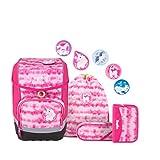 ergobag cubo Set - ergonomischer Schulrucksack, Set 5-teilig - ZauBärwatte - Pink