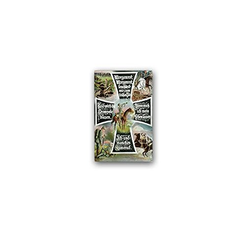 Aufkleber/Sticker -Morgenrot Reiters Morgenlied Morgengesang Gedicht Lied Kamerad Soldaten Trompete Reiter Pferd Waffe Militär 4x7cm #A3612