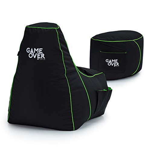 Game Over Video Gaming Bean Bag Chair and Footstool Bundle | Indoor Outdoor | Side Pockets for Controllers | Headset Holder | Ergonomically Designed for Gamers (Fel Magic)