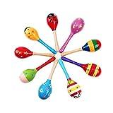 SENZHILINLIGHT Niños bebé juguete de madera Maracas Rumba Shakers Musical Party sonajero caliente