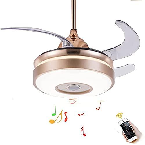 WSVULLD Luz LED Moderna para Ventilador Invisible, Lámpara De Techo con Personalidad, 3 Colores, Control Remoto De Audio Bluetooth Invisible para Iluminación Ligera para El Hogar