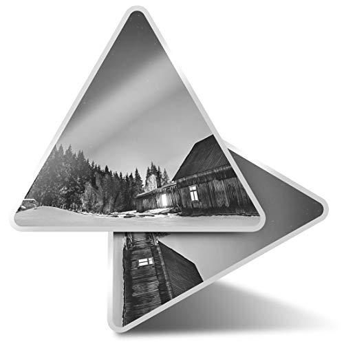 2 pegatinas triangulares de 7,5 cm – BW – Woodland Log Cabin Ski Snow Fun Calcomanías para ordenadores portátiles, tabletas, equipajes, reservas de chatarra, neveras #35573