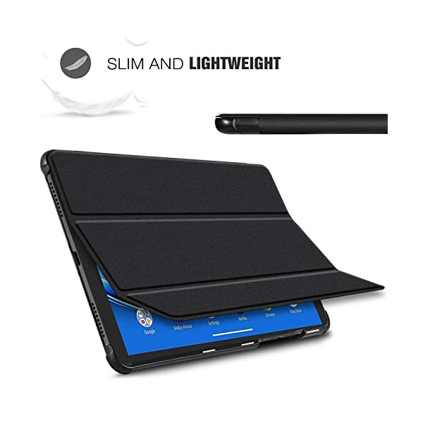 IVSO Cover Case for Lenovo Tab M10 Plus, Slim PU Cover Case for Lenovo Tab M10 Plus TB-X606F, Black