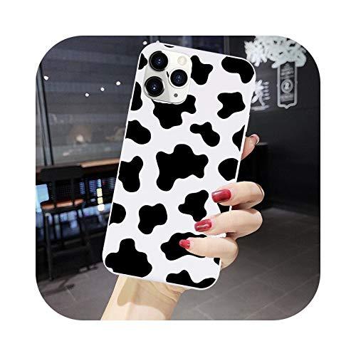 Funda para iPhone X XS XR MAX 12 11 PRO Max 6S con estampado de símbolo de vaca color blanco rosa