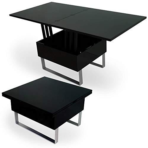 DecoInParis - Mesa baja elevable multifunción, madera lacada