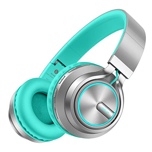 Wireless Headphones 25 Hrs w/Romantic LED Light, HiFi Stereo Picun Bluetooth 5.0 Headphones Over Ear w/Deep Bass/HD Mic/Bag, Protein Earpads, Foldable, TF Card/Wired Mode for PC Cellphone (Grey/Mint)