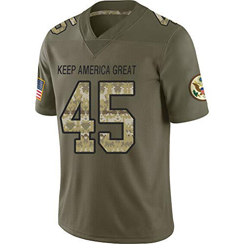 Custom Trump #45 Football Jersey USA Flag Mesh Style Breathable and Dry for Men 2XL Olive