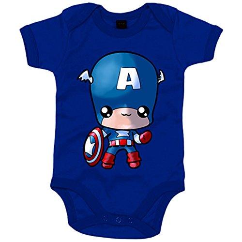 Body bebé parodia Capitán America Kawaii - Azul Royal, 6-12 meses