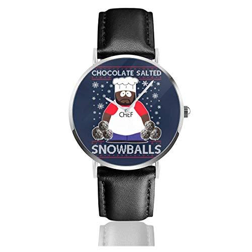 Unisex Business Casual South Park Chocolate Salado Bolas de Nieve Navidad Punto Patrón Relojes Reloj de Cuero de Cuarzo