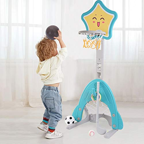 Lowest Prices! N/P Toy Basketball 4 in 1 Adjustable Basketball Hoop Stand with Basketball/Ring Toss/...