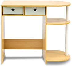 FURINNO Go Green Home Laptop Notebook Computer Desk/Table, With 2 Bin Drawers, Beech/Ivory/White