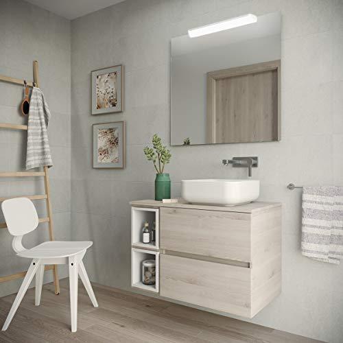 Yellowshop. - Mobile Bagno sospeso 85 cm Stile Moderno lavabo appoggio specchiera LED MOD. Deco (Legno Naturale)