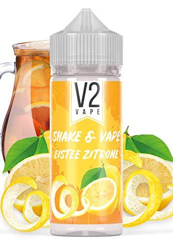 V2 Vape Shake and Vape Eistee-Zitrone | 20ml hochdosiertes Aroma-Konzentrat zum mischen mit Base für E-Liquid | Longfill, zum direkt dampfen, keine Reifezeit | 0mg nikotinfrei