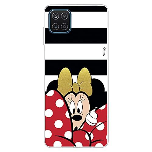 Custodia per Samsung Galaxy A12 Ufficiale Disney Minnie sfondo righe bianco e nero per proteggere il tuo cellulare Cover per Samsung con licenza ufficiale Disney.