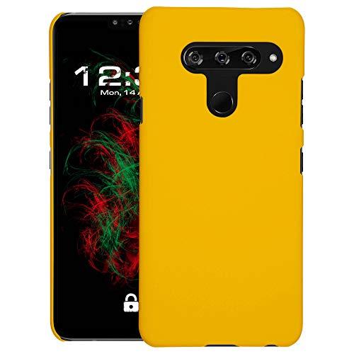 Baluum Hardcase gummierte gelbe Hülle kompatibel mit LG V40 ThinQ Schutzhülle Hülle Cover Handyhülle Hartschale aus robusten Kunststoff