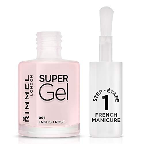 Rimmel - Vernis à Ongles Super Gel French Manicure - Couleur et Brillance - Longue Tenue - 091 english Rose - 12ml