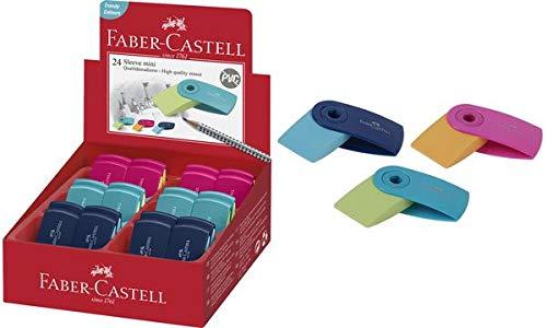 Faber Castell Gummi Mini Sleeve zusammenklappbar Display mit 24 Stück Radiergummi, Mehrfarbig, 9555684679765
